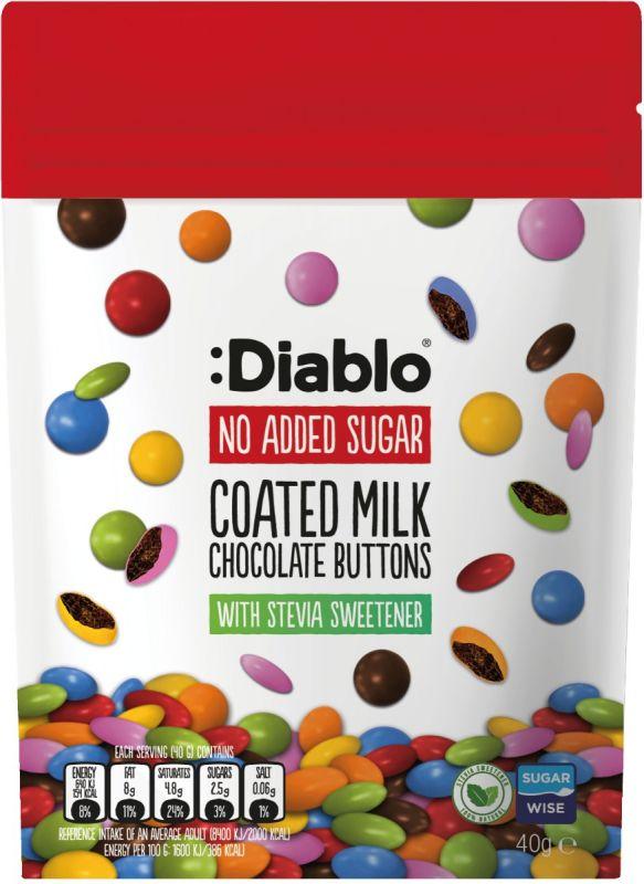 Diablo No Added Sugar Coated Milk Chocolate Buttons (Stevia) 50g x 24