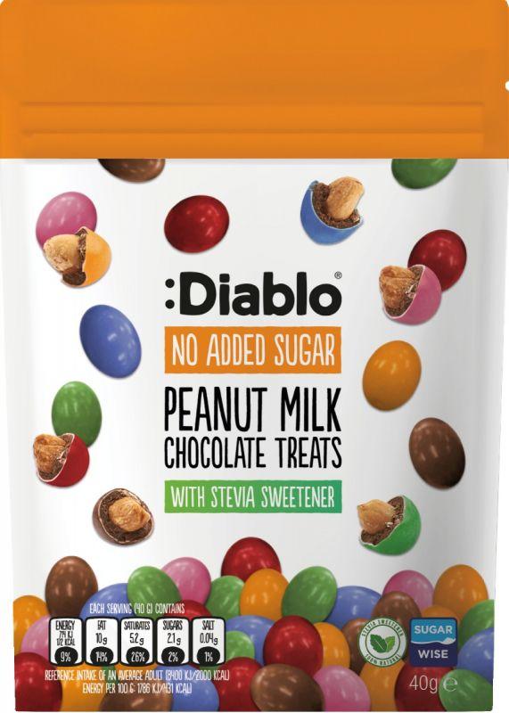 Diablo No Added Sugar Peanut Milk Chocolate Treat Bag 40g x 24
