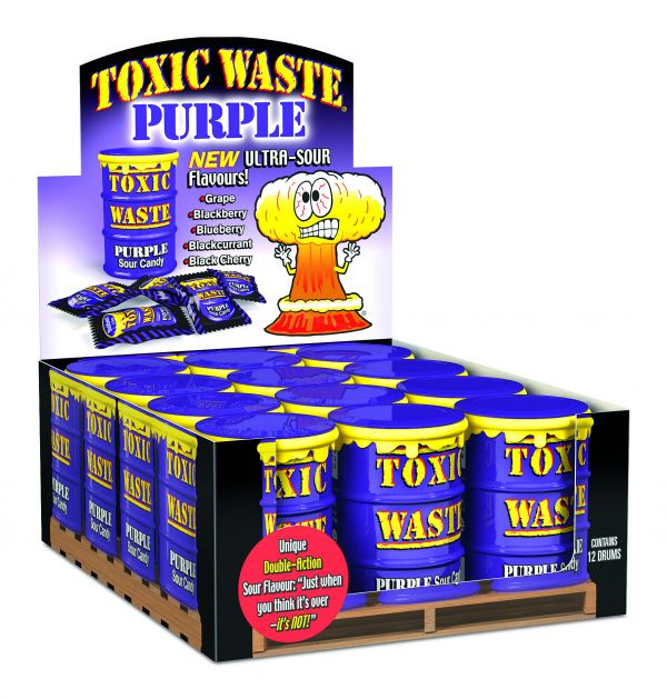 Toxic Waste Hazardously 'Purple' Ultra Sour Candy Drum 42g x 12