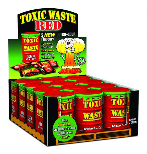 Toxic Waste Hazardously 'Red' Ultra Sour Candy Drum