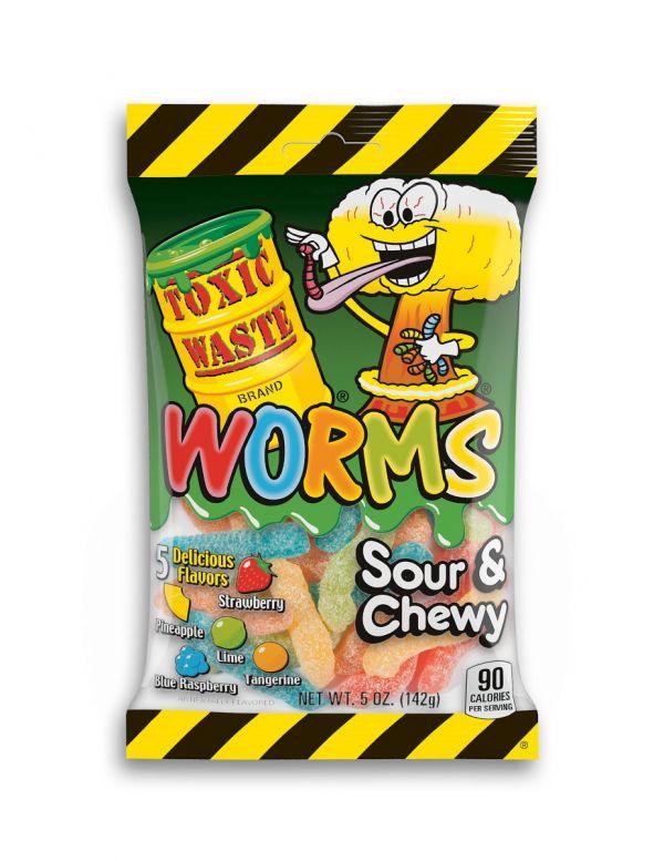 Toxic Waste Sour Gummy Worms 143g x 12