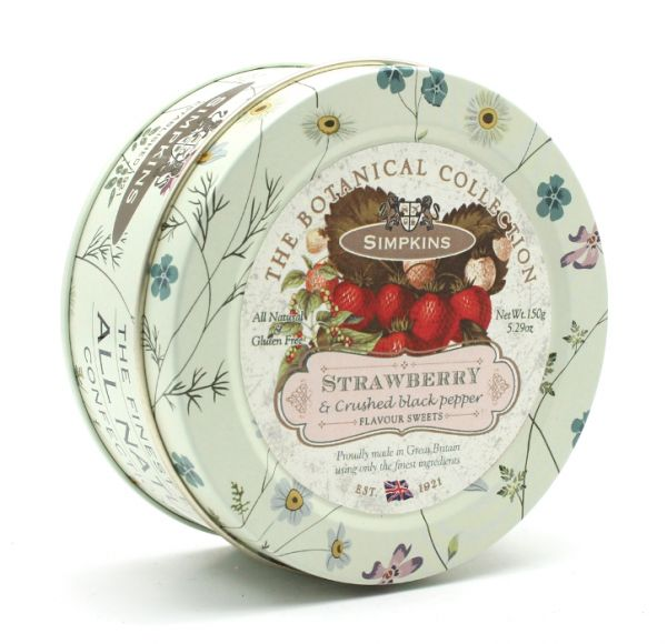 Botanical Tin Strawberry & Crushed Black Pepper Drops 150g x 10