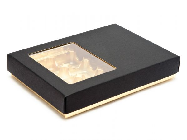 24 Choc Deluxe Bright Gold Buffer Base with Black Window Lid  (250 x 189 x 32mm)  x 10