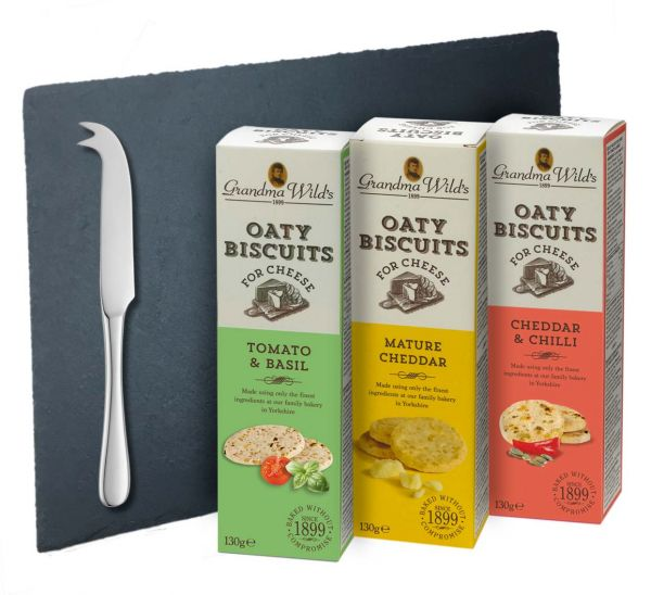 Savoury Biscuits for Cheese with Slate Board & Knife 390g x 6 5.29% VAT