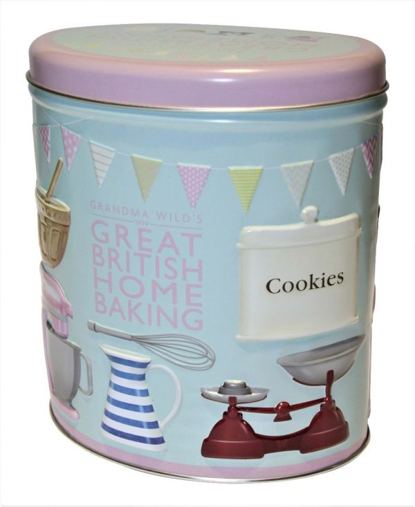Embossed Oval Home Baking Tin with Stem Ginger & Crumbly Oat Biscuits 200g x 6