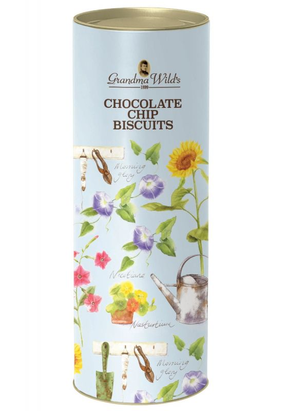 Blue Garden Tools with Sunflowers Tube with Chocolate Chip Biscuits 200g x 9