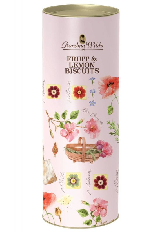 Pink Garden Poppies & Basket Tube with Fruit & Lemon Biscuits 200g x 9