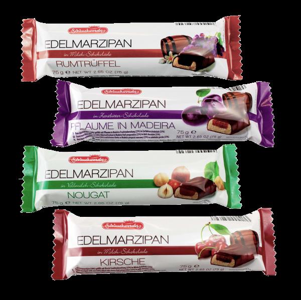 Mixed Case of Marzipan Bars - Praline x 6, Plum with Madeira x 6, Cherry Liquer x 6,  Rum Truffle x