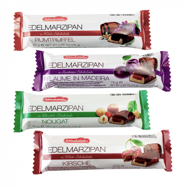 Mixed Case of Marzipan Bars 6 / Flavour Praline, Plum, Cherry, Rum SHORT DATED 31/05/2020