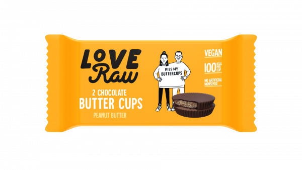 LoveRaw Vegan Chocolate Butter Cups - Peanut Butter 34g x 18