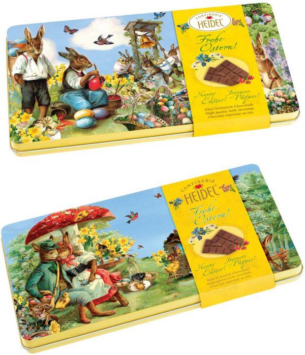 Easter Nostalgia Tin contains 4 Milk Chocolate Bars (30g x 4) 120g x  7