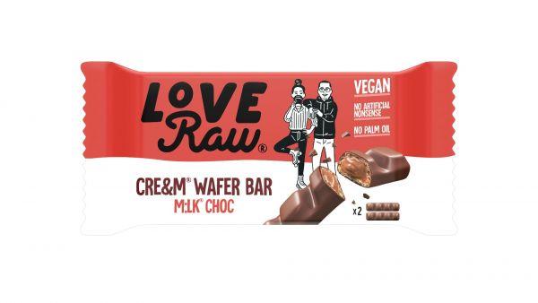 Love Raw Vegan Cre&m Filled Wafer M:lk Choc Bars 43g x 12