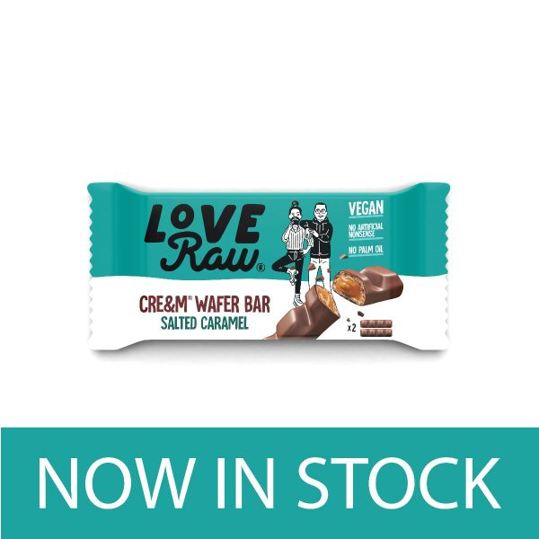 Love Raw Vegan Cre&m Filled Salted Caramel Wafer Bars 43g x 12