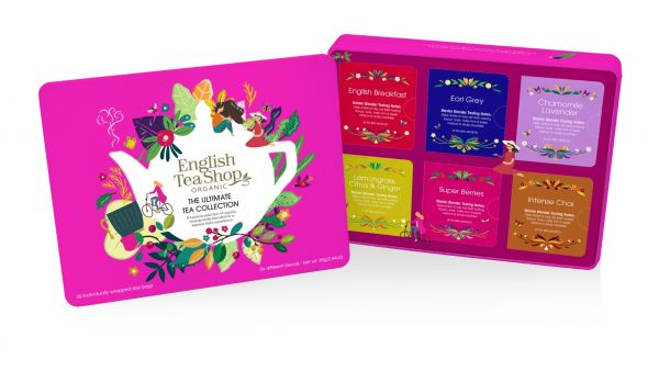 Ultimate Tea Collection Gift Tin 36 Tea Bag Sachets - 6 flavours (English Breakfast, Earl Grey, Cham