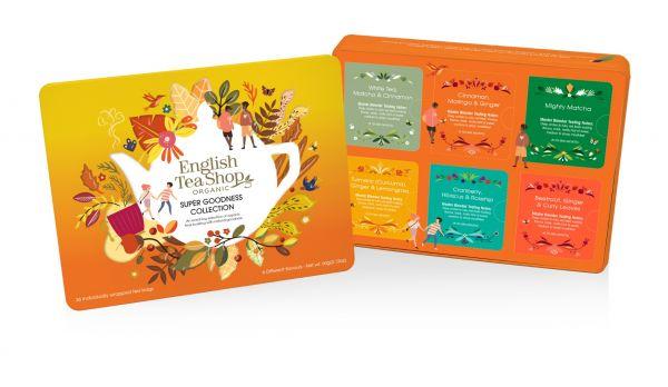 Super Goodness Collection Gift Tin 36 Tea Bag Sachets - 6 flavours ( White Tea Matcha & Cinnamon , C