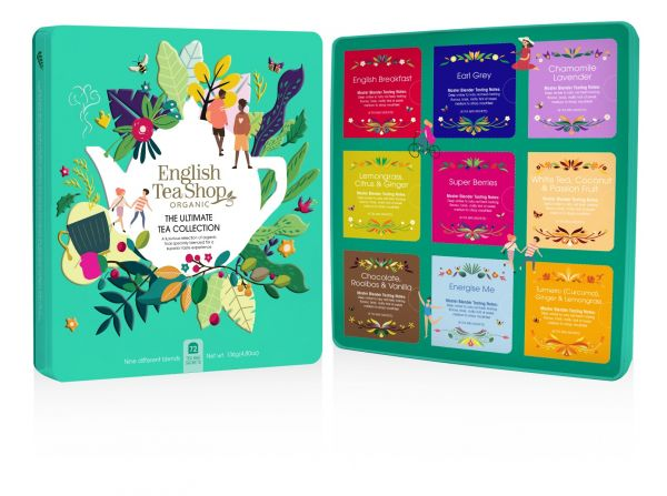 The Ultimate Tea Collection Gift Tin 72 Tea Bags Sachets - 9 flavours (English Breakfast, Earl Grey,