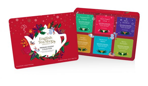 Premium Holiday Collection Red Gift Tin 36 Tea Bag Sachets - 6 different flavours (Peppermint Candy,