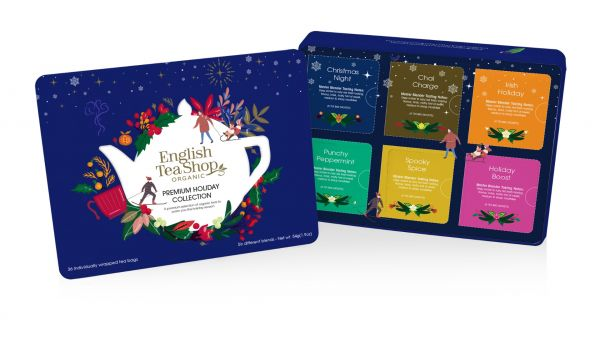 Premium Holiday Collection Blue Gift Tin 36 Tea Bag Sachets - 6 different flavours (Christmas Night,
