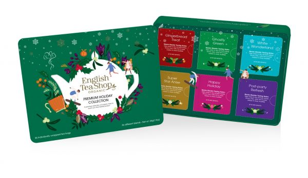 Premium Holiday Collection Green Gift Tin 36 Tea Bag Sachets - 6 different flavours (Gingerbread Tre