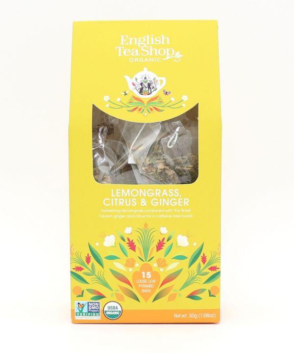 Organic Lemongrass, Citrus & Ginger 15ct Pyramid Pack 30g x 6 Zero VAT