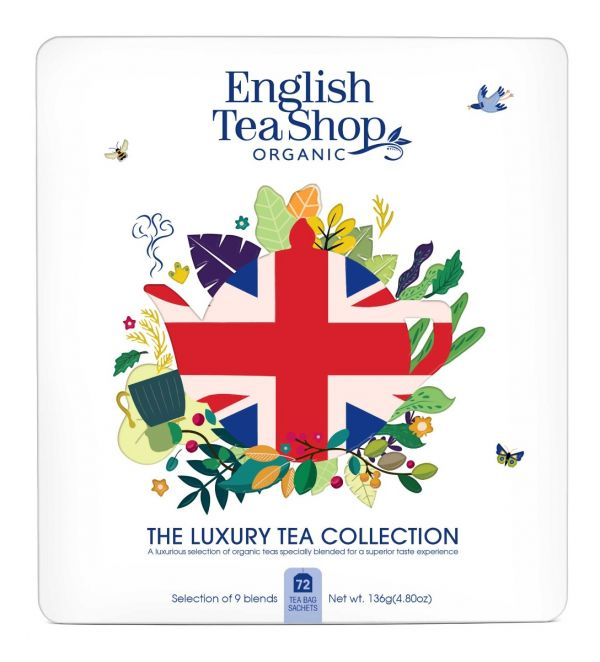 Organic 'Union Jack' Gift Tin - 72 Tea Bags in 9 Flavours 132g x 6 Zero VAT