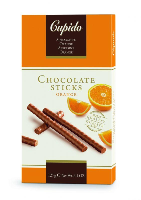 Cupido Orange Chocolate Sticks 125g x 12