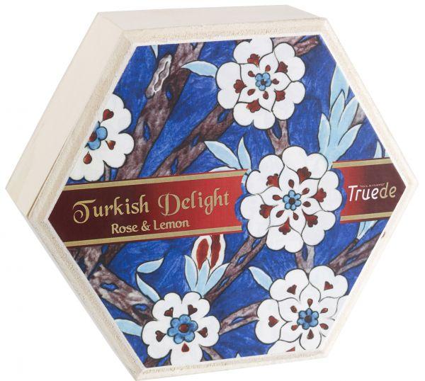 Wooden Box Turkish Delight Rose & Lemon 250g x 12