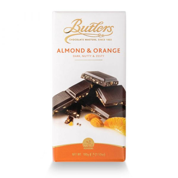 Butlers Dark Chocolate Bar with Almond & Orange 100g x 18