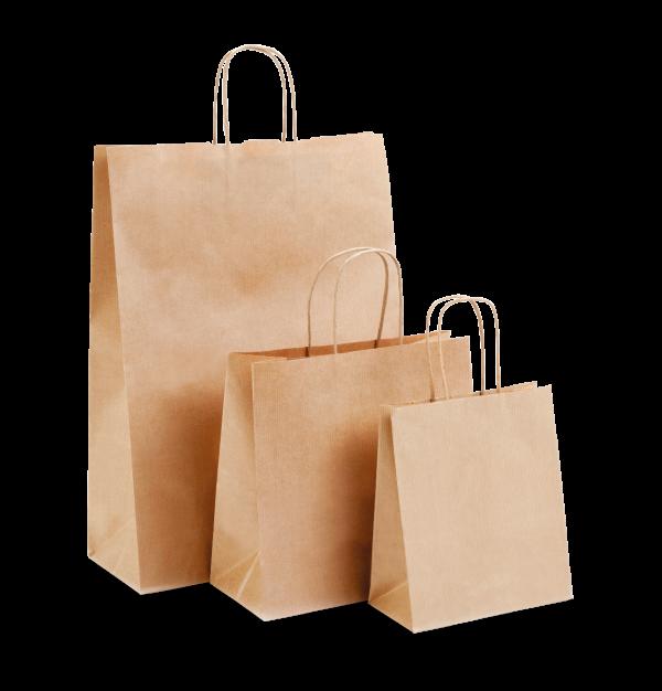 Kraft Medium Paper Carrier Bags (250x110x240mm) x 50