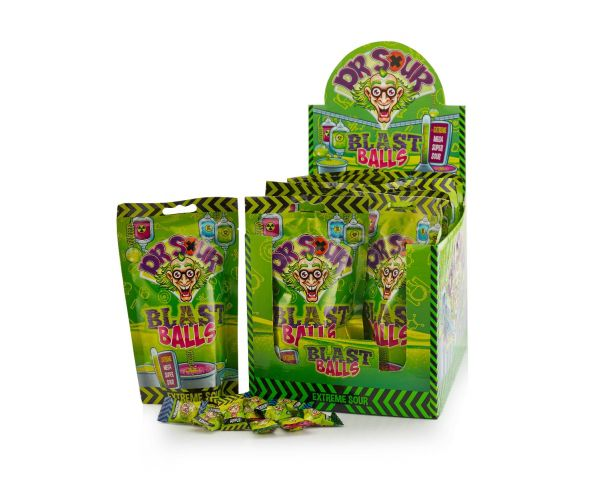 Dr. Sour - Blast Balls - Stand up bag 75g x 12 DATED 15.12.2021