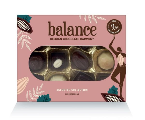 Balance Sugar Free Box of 12 Assorted Chocolate Pralines 145g x 10