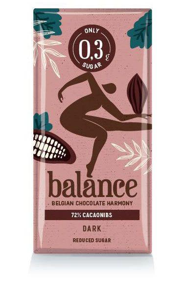 Balance Reduced Sugar  Dark 72% Cacaonibs Tablet 100g x 12