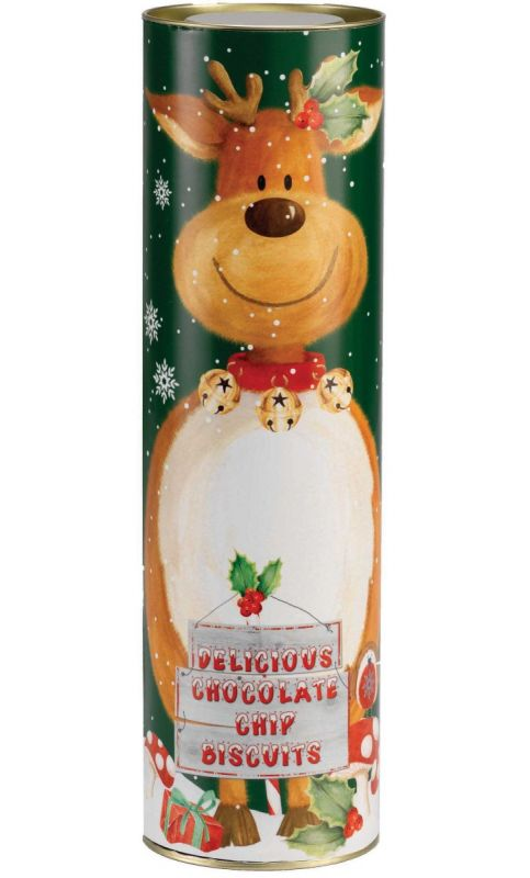Reindeer Gift Tube with Mini Chocolate Chip Biscuits 200g x 12