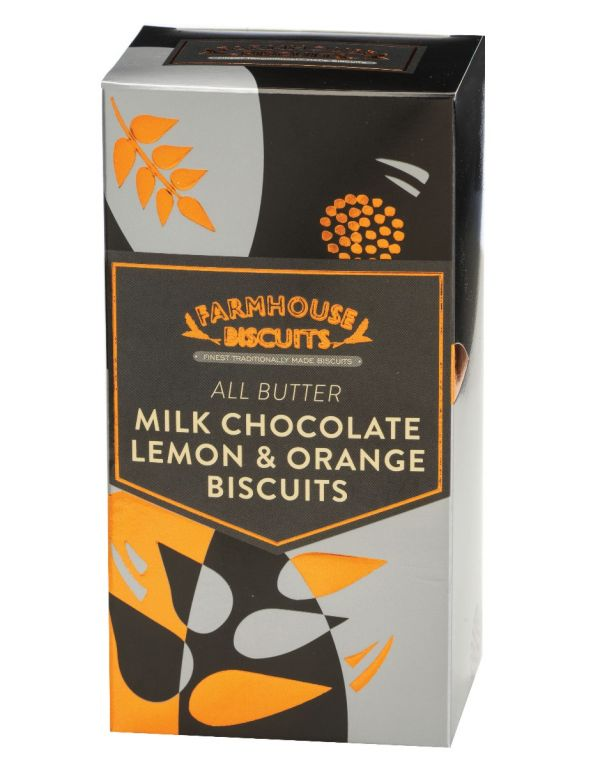 Luxury Half Milk Chocolate Coated Lemon & Orange Biscuits 150g x 12