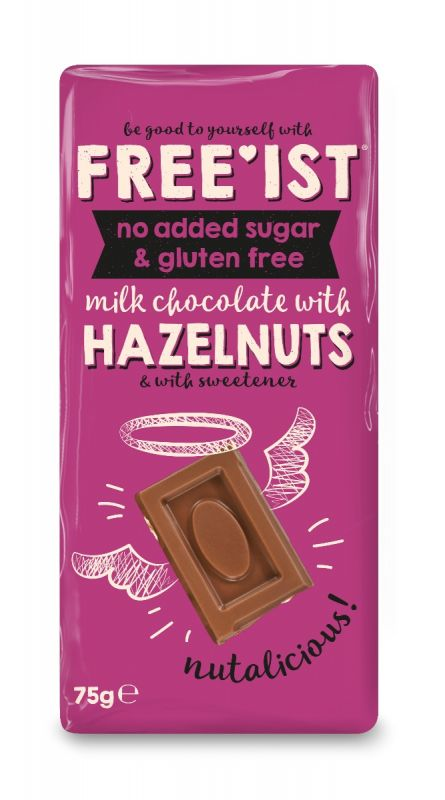 Free'ist Hazelnut Chocolate No Added Sugar  75g x 12