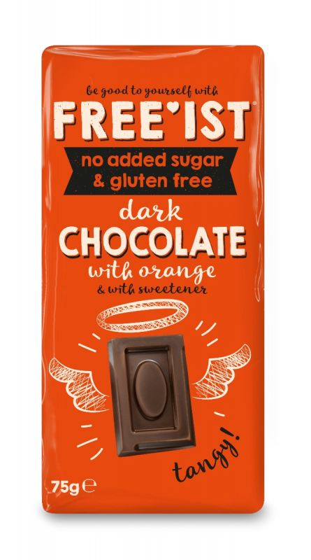 Free'ist Dark Chocolate with Orange No Added Sugar 75g x 10