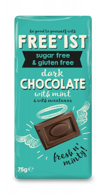 Free'ist Dark Chocolate with Mint Sugar Free 75g x 12