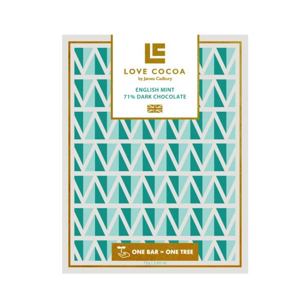 English Mint Dark Chocolate Bar 80g x 12