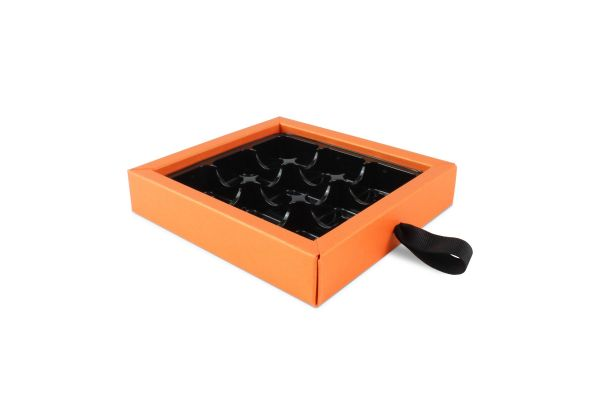 Luxury 9 Choc Ribbon Drawer Base Pearlescent Orange x 10
