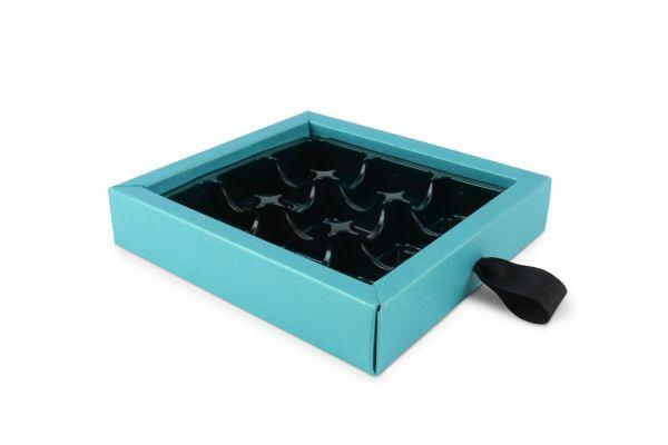 Luxury 9 Choc Ribbon Drawer Base Pearlescent Turquoise  x 10