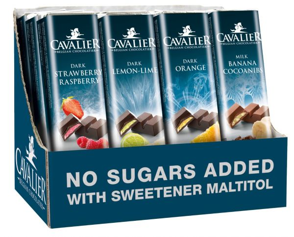 Cavalier Assorted Solid Fruit Chocolate Bars 40g x 32