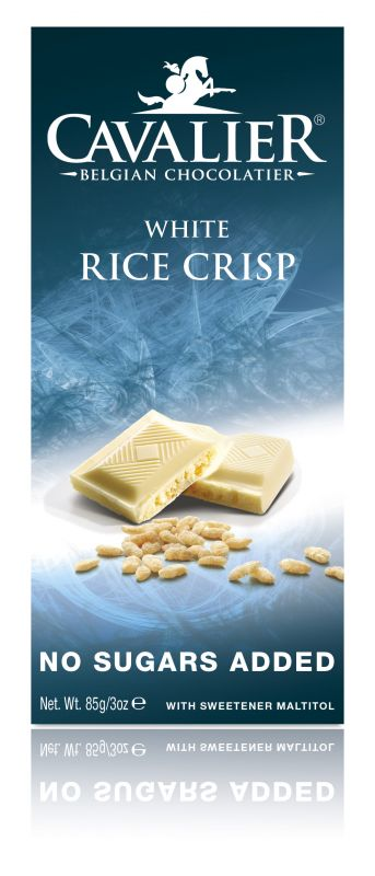 Cavalier White Rice Crisp Chocolate No Added Sugar Bar 85g x 14
