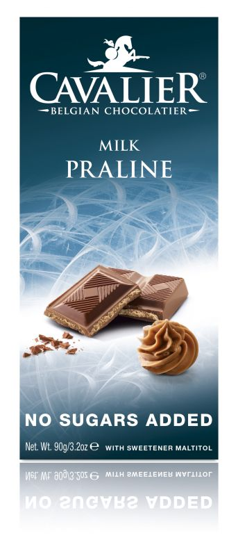 Cavalier Milk Praline Chocolate No Added Sugar Bar 90g x 14