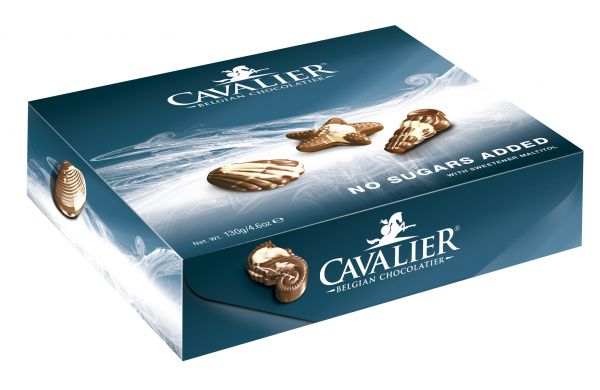 Cavalier Boxed No Added Sugar Chocolate Seashells 130g x 12