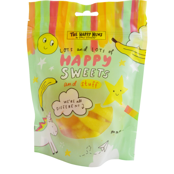 Happy News Mix Jellies Share Bag (unicorns, bananas,  happy faces and stars) 180g x 16