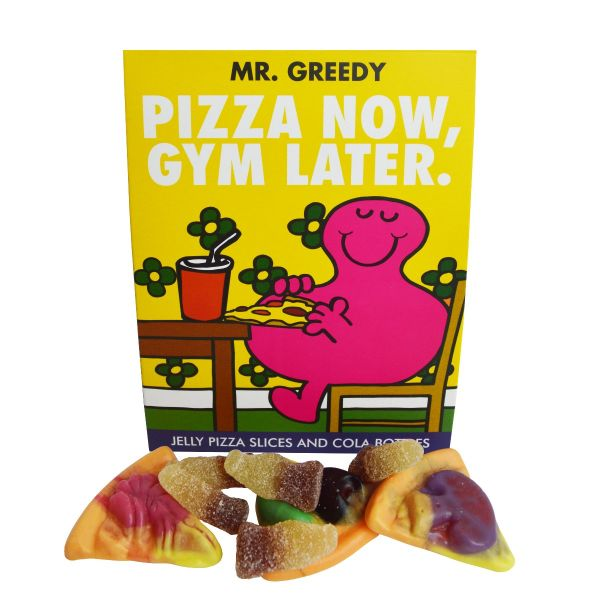 """Mr Men - Mr Greedy """"Pizza Now, Gym Later"""" - Jelly Pizza Slices and Jelly Cola Bottles 100g x 7"""