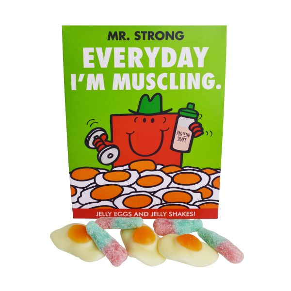 """Mr Men - Mr Strong """"Every Day I'm Muscling"""" - Jelly eggs and Jelly Shakes a frame 100g x 7"""