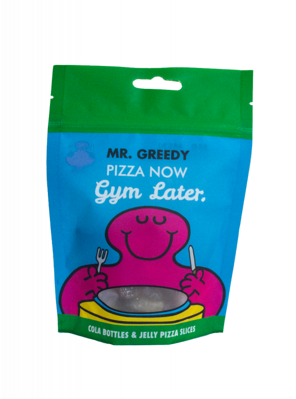 Mr Men - Mr Greedy  - Jelly Pizza Slices and Jelly Fizzy Cola Bottles Doybag 140g x 20