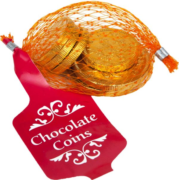 Gold Net of Milk Chocolate Coins in Drum (English currency) 25g x 60