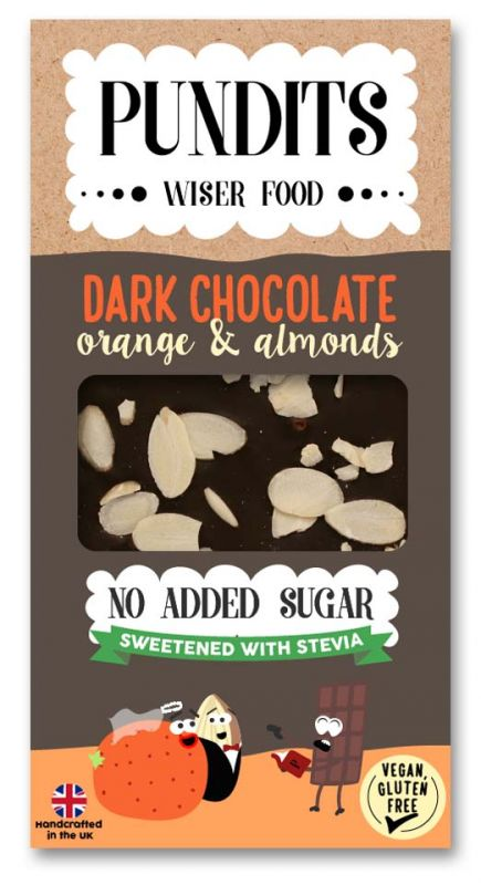 Dark Chocolate Bar - Orange & Almonds  100g x 12 DATED 31.03.2021